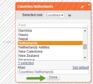 Define a Geo-targeting Segment by choosing the appropriate  country to target