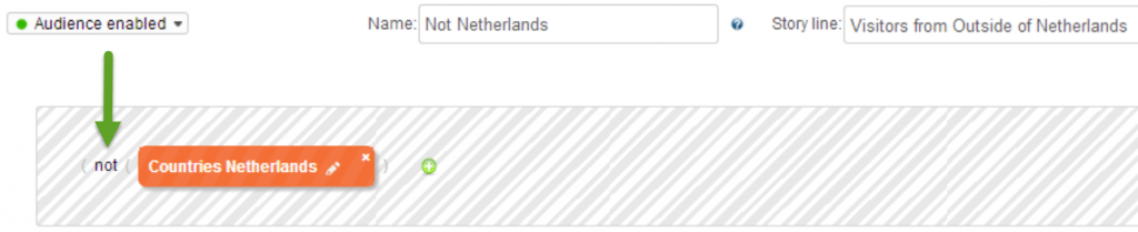 "Highlight the ""Not"" Operator  to instruct Personyze to target all visitors located  outside of Netherlands."