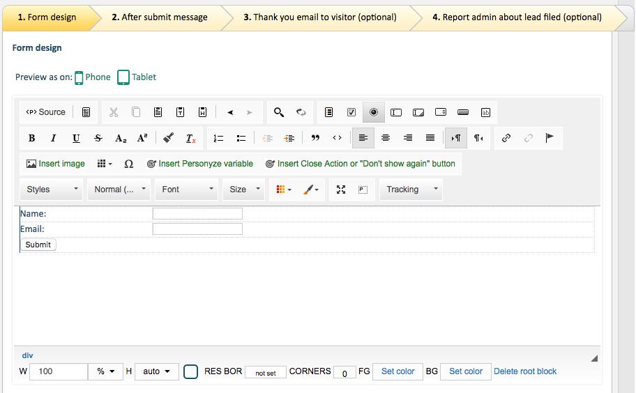 personalization form creator