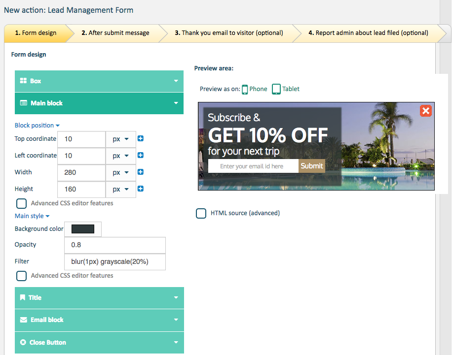 personalization form templates editor