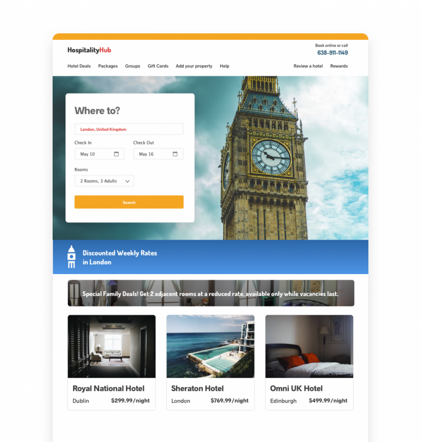 HOSPITALITY WEBSITE TARGETING EXAMPLE