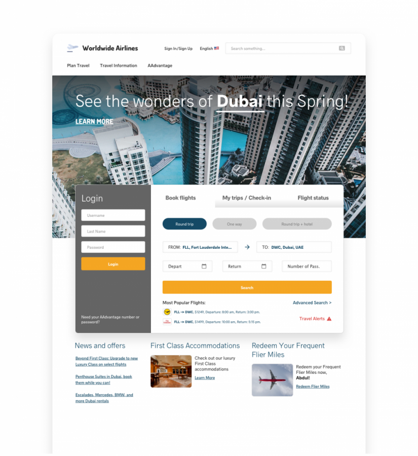 AIRLINE WEBSITE HOMEPAGE PERSONALIZATION EXAMPLE
