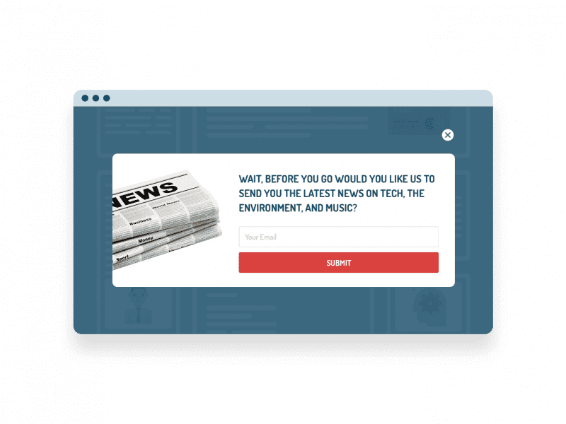 newsletter exit popup