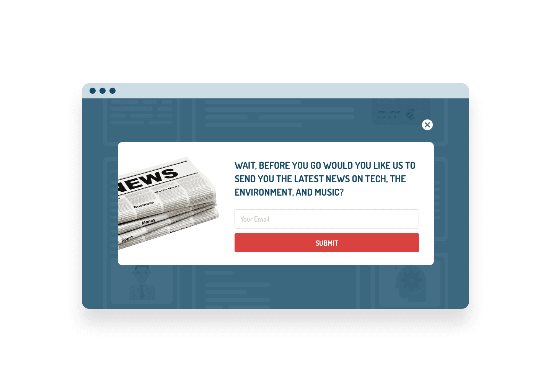 newsletter exit popup