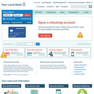 BANKING WEBSITE CRM TARGETING EXAMPLE