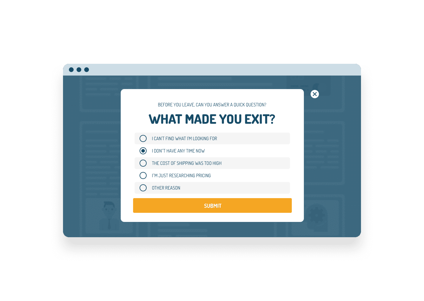 Exit Popup with a Survey