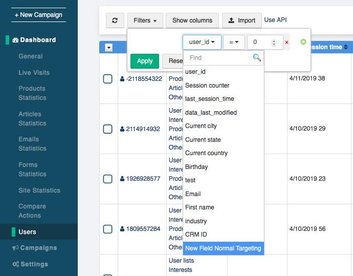 users list targeting